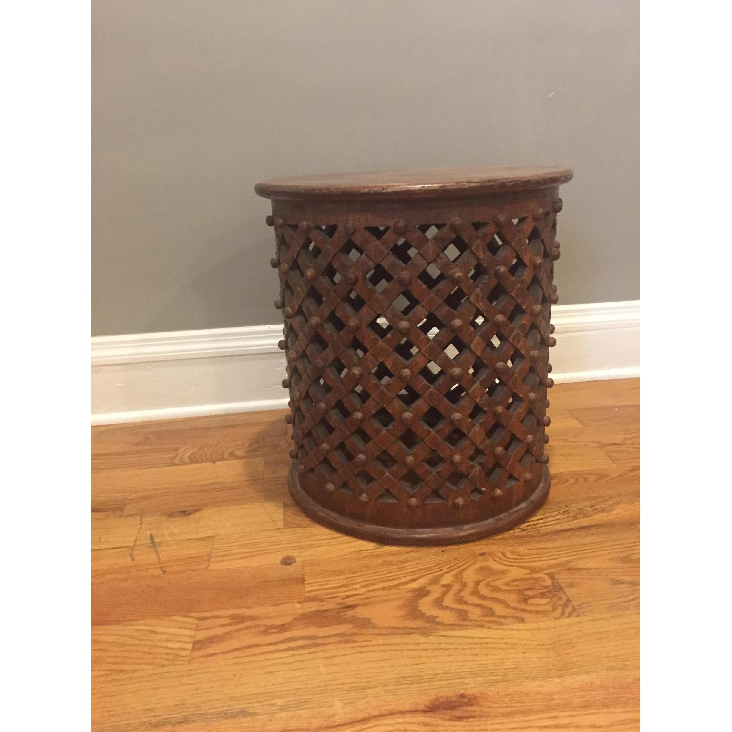 Ballard Designs Round Carved Wood Side Table - image-1