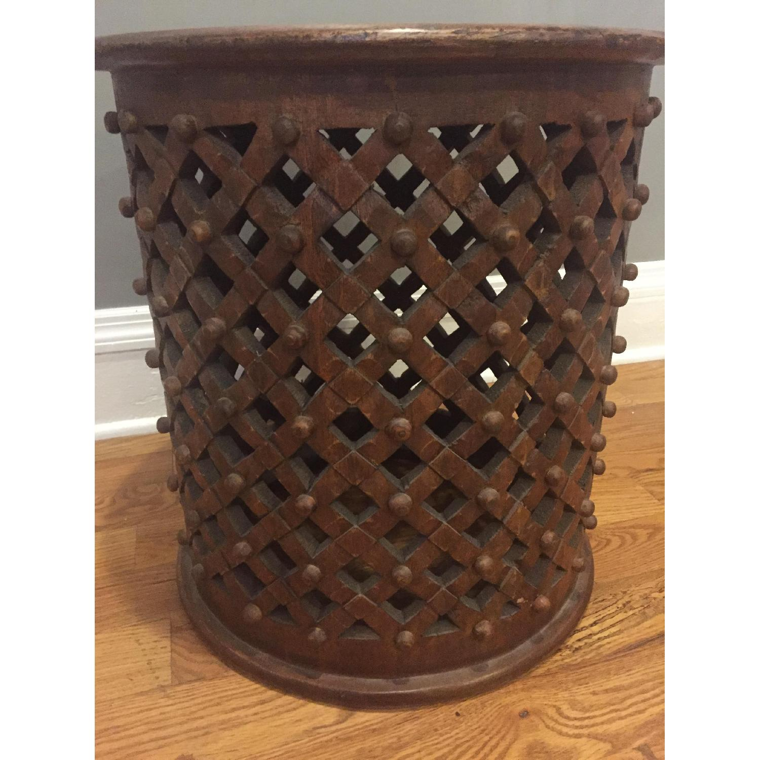 Ballard Designs Round Carved Wood Side Table - image-2