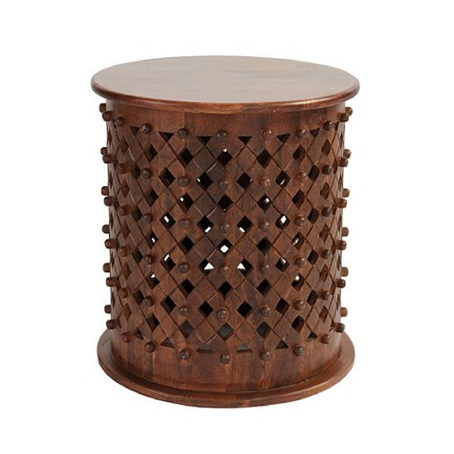 Ballard Designs Round Carved Wood Side Table - image-0
