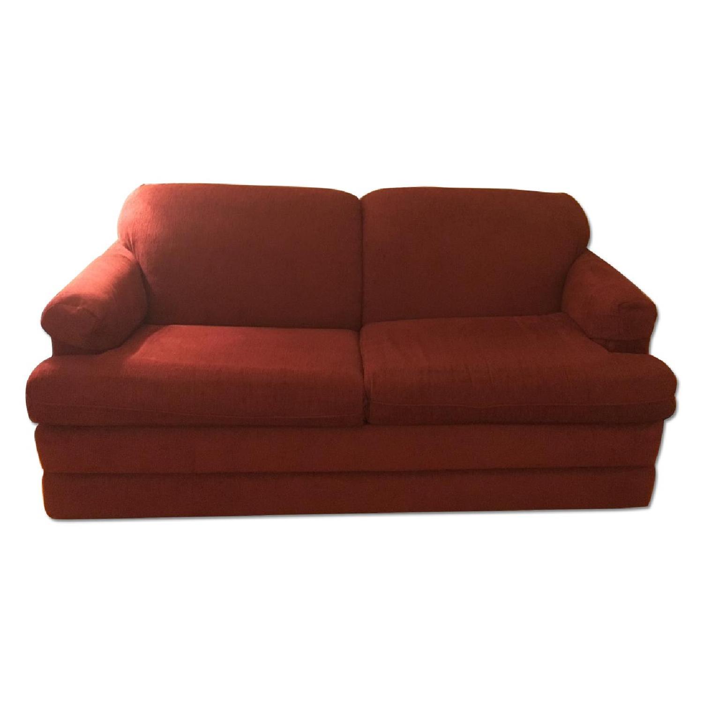 La-Z-Boy Merlot Red Full Sleeper Sofa - image-0