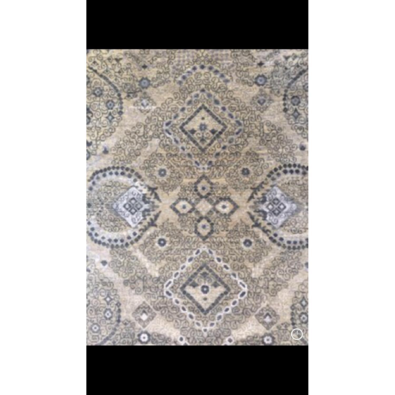 Bloomingdale's Indian Ikat Hanf Woven Wool Rug - image-3