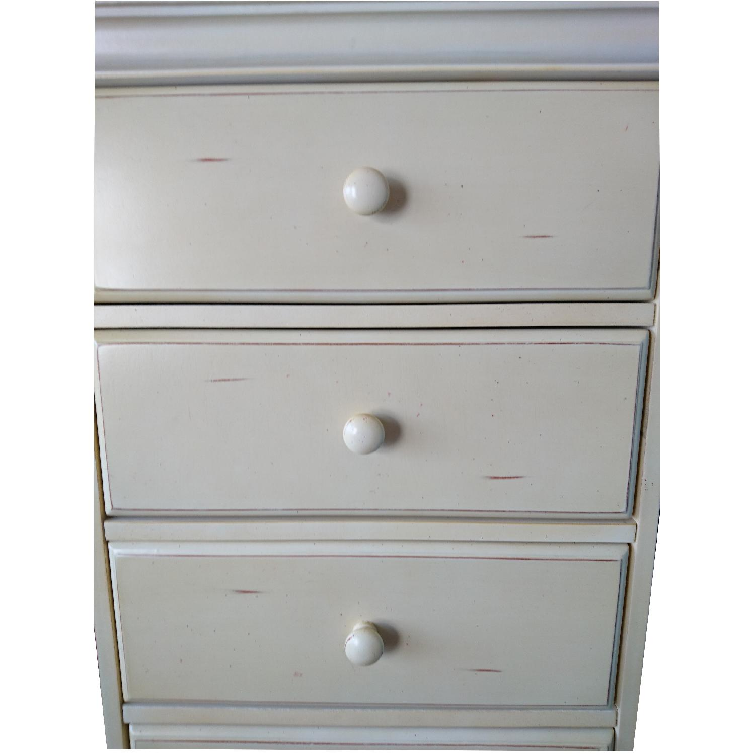 Vintage Light Brown/Cream Painted Stained 7 Drawer Dresser - image-1