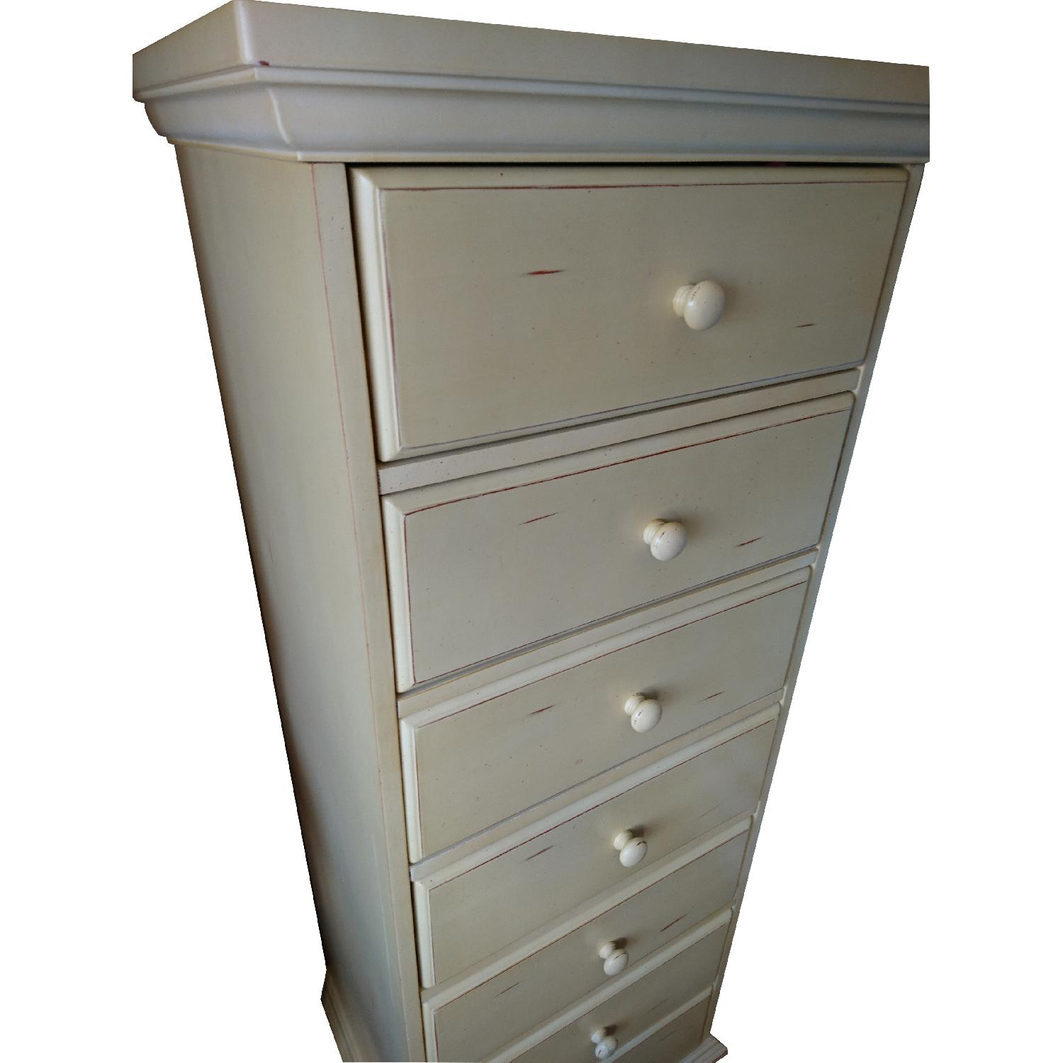 Vintage Light Brown/Cream Painted Stained 7 Drawer Dresser - image-3