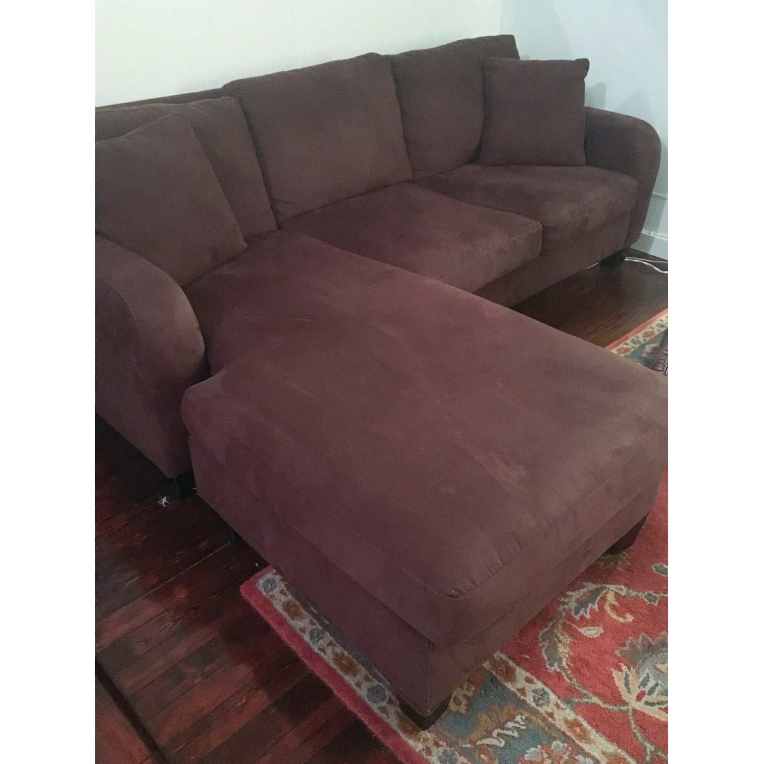Raymour & Flanigan Dark Brown Microfiber Chaise Sectional Sofa - image-4
