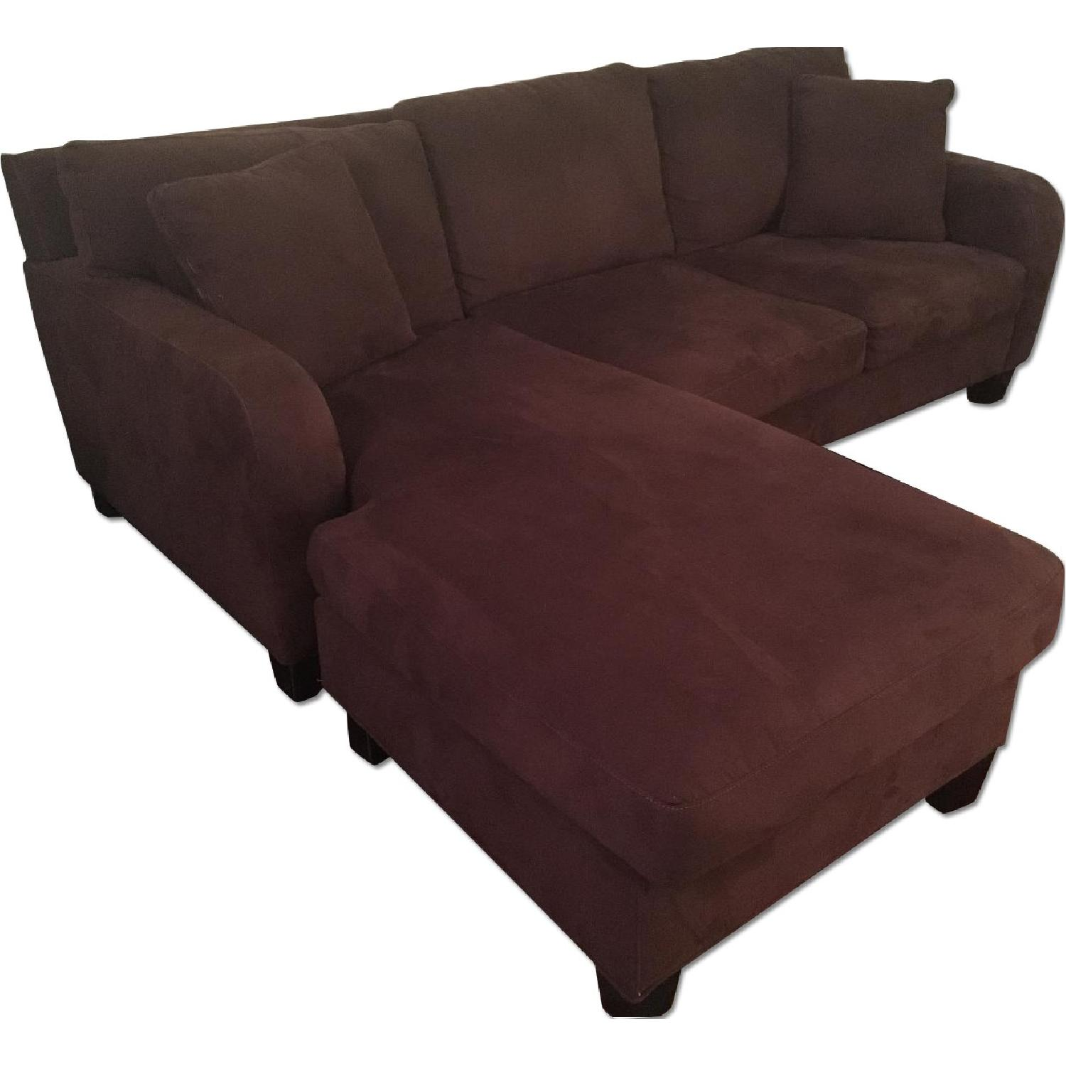 Raymour & Flanigan Dark Brown Microfiber Chaise Sectional Sofa - image-0