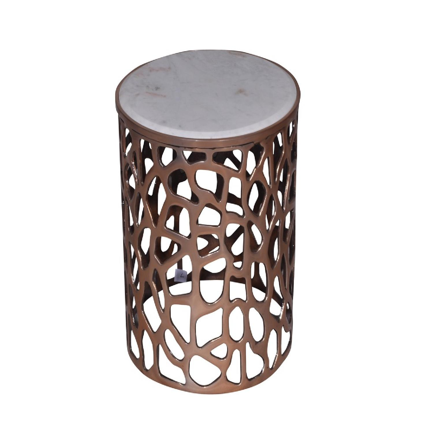 Metal Round Side End Table w/ Marble Top - image-0