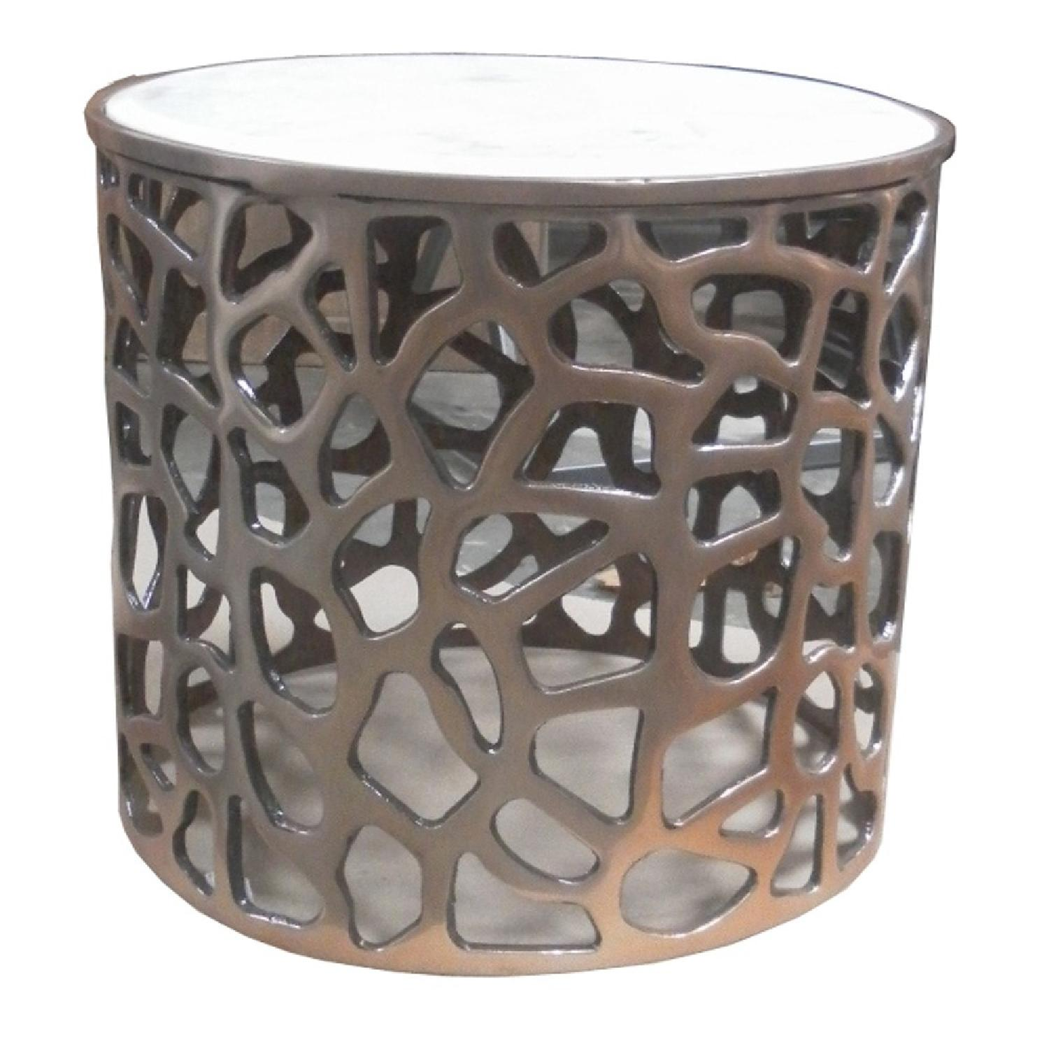 Metal Round Side End Table w/ Marble Top - image-1
