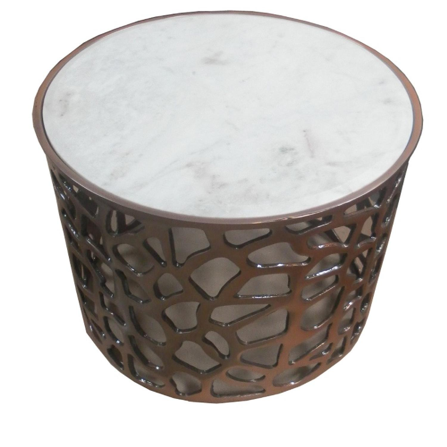 Metal Round Side End Table w/ Marble Top - image-2
