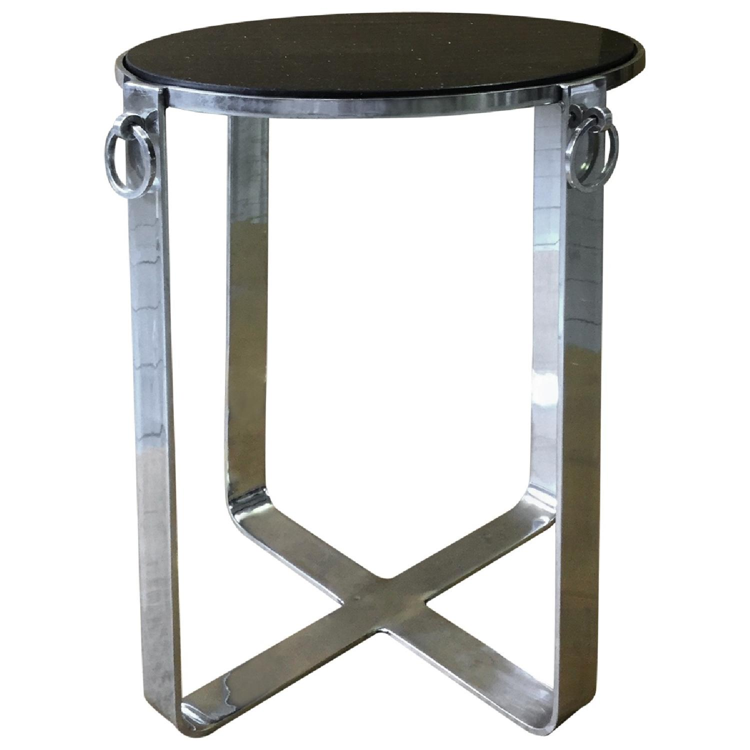 Metal Round Side Table w/ Glass Top - image-0