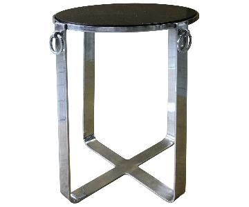 Metal Round Side Table w/ Glass Top