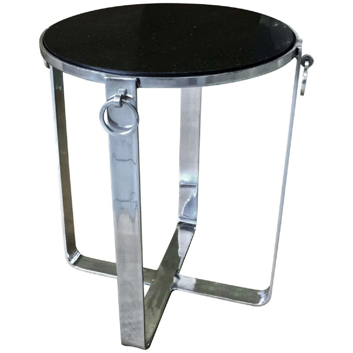 Metal Round Side Table w/ Glass Top - image-1