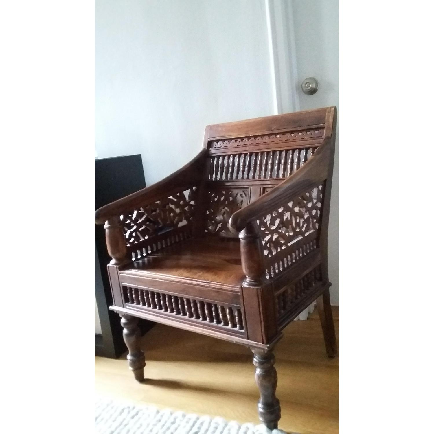 Home Decorator's Collection Hand Carved Rajasthan Wooden Chair - image-1