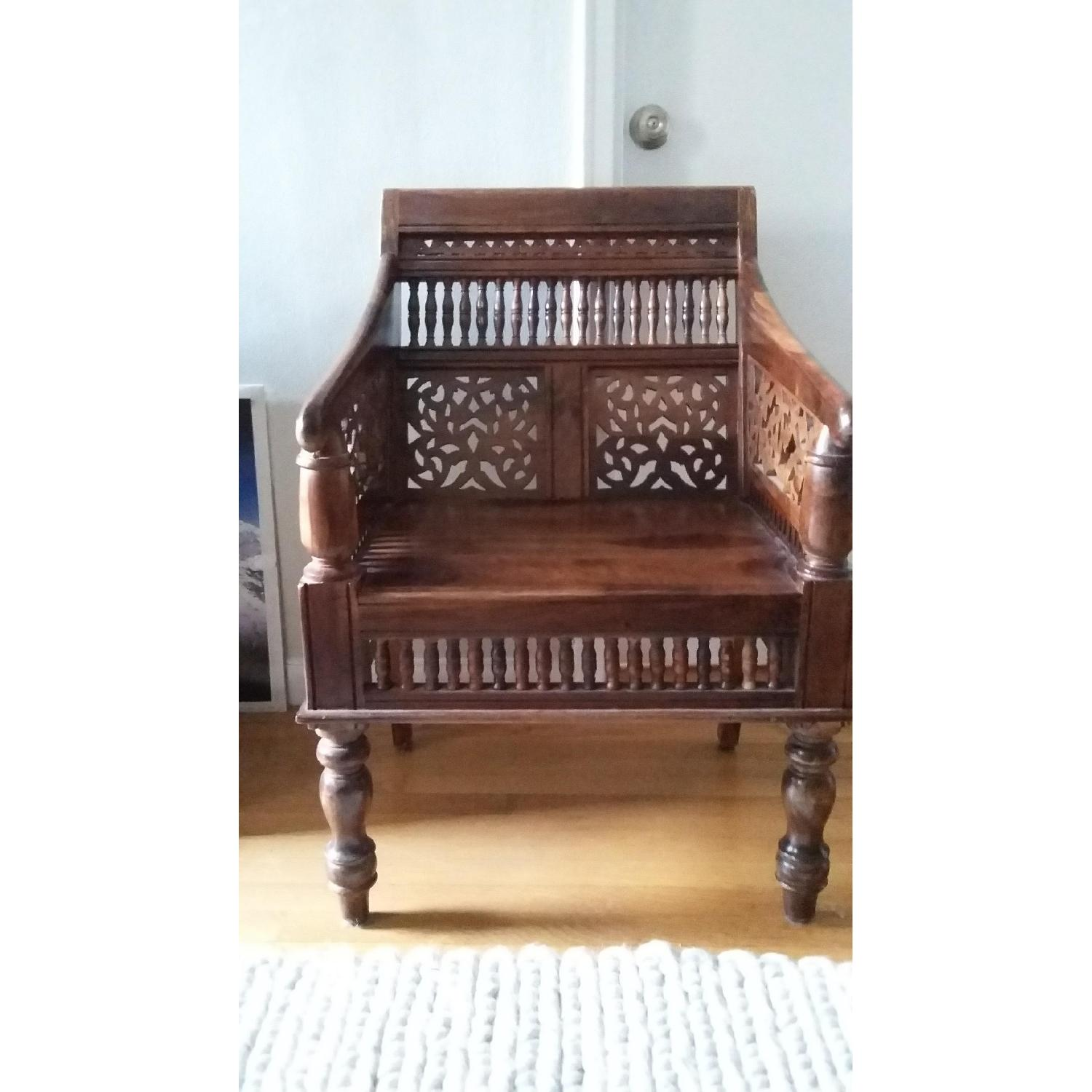Home Decorator's Collection Hand Carved Rajasthan Wooden Chair - image-2