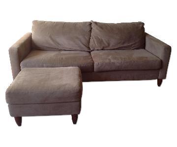 Crate & Barrel Beige Sofa & Ottoman