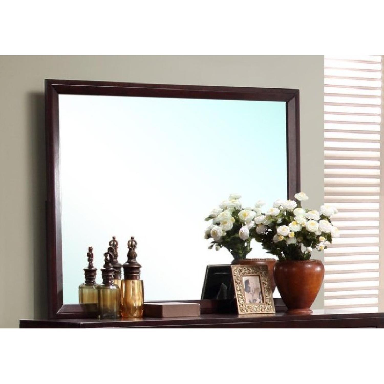 Rectangular Mirror in Merlot Finish Wood Frame - image-1