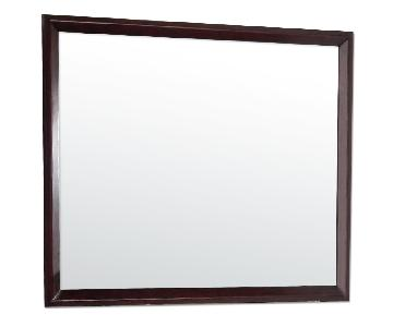 Rectangular Mirror in Merlot Finish Wood Frame