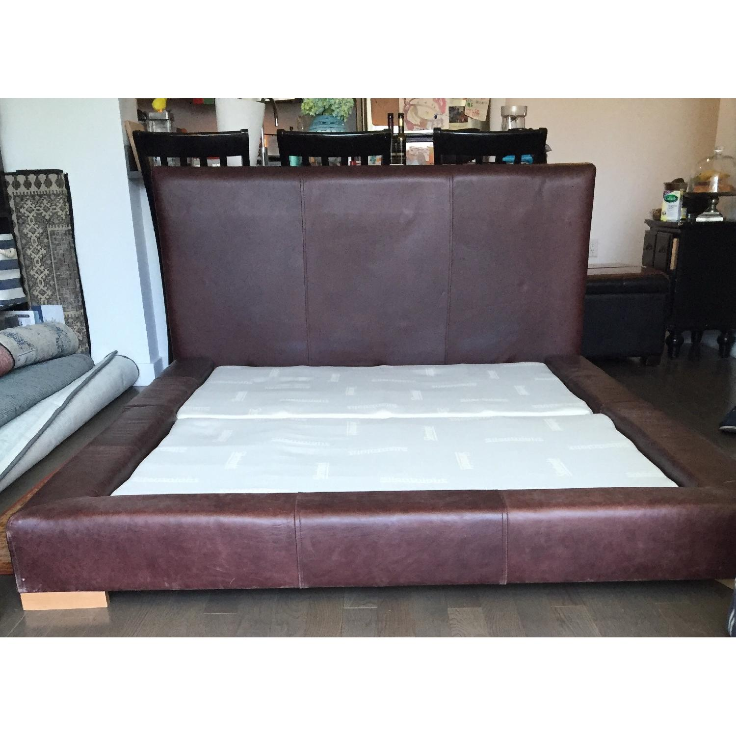 Double Brown Leather Full Bed Frame - image-2