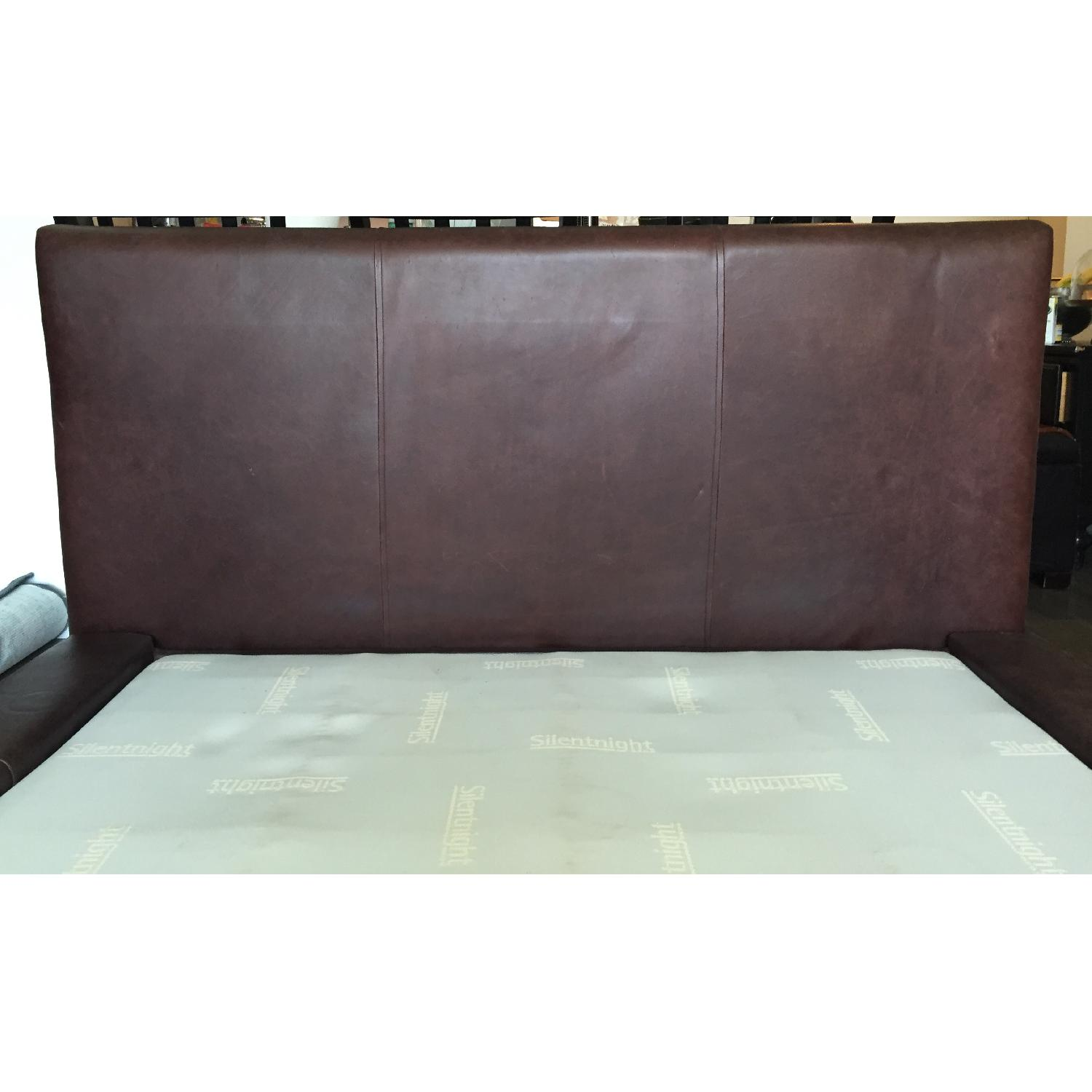 Double Brown Leather Full Bed Frame - image-4