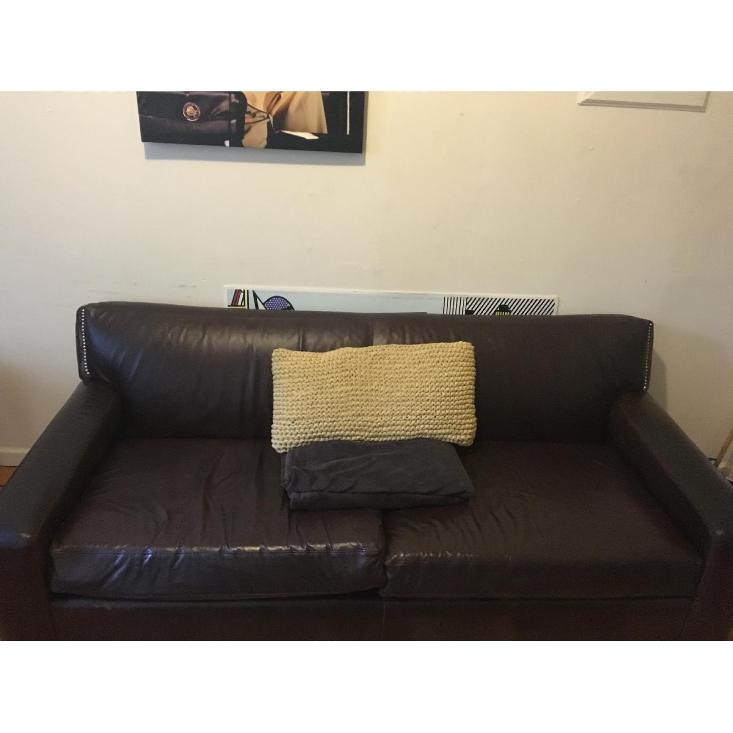 Mitchell Gold + Bob Williams Leather Couch - image-3