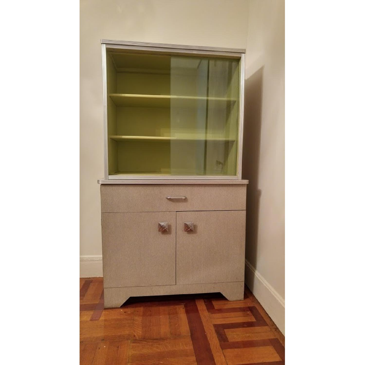 1970's Avocado Green China Cabinet w/ Sliding Glass - image-2