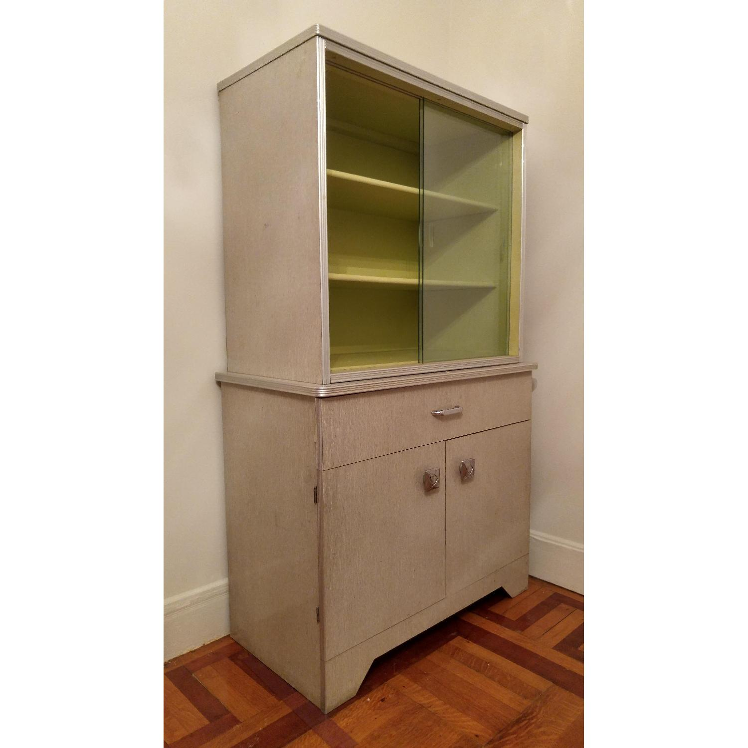 1970's Avocado Green China Cabinet w/ Sliding Glass - image-4