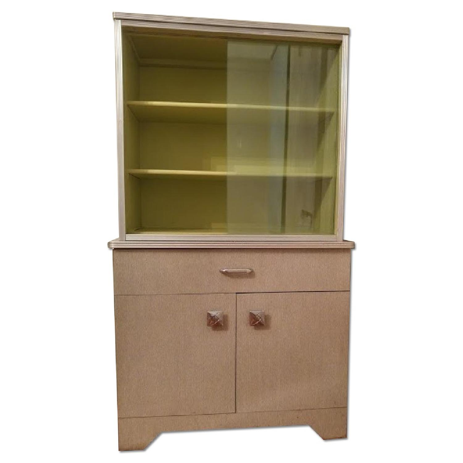1970's Avocado Green China Cabinet w/ Sliding Glass - image-0