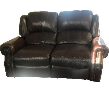 Brown Faux Leather Reclining Loveseat