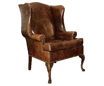 Schafer Bros Wing Back Brown Leather Chair w/ Nailhead