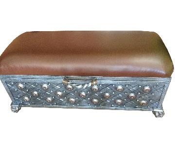 Asian-Style Foot Trunk w/ Solid Metal Arms & Base