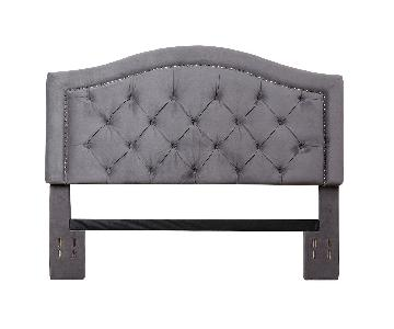Abbyson Gray Velvet Tufted Headboard w/ Nailhead Trim