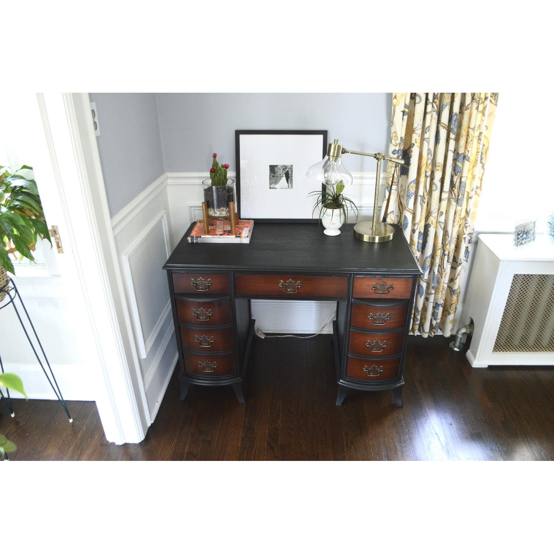 Wood Desk w/ Stencil Detail-2