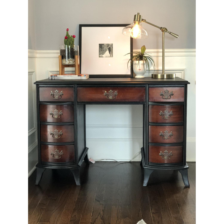 Wood Desk w/ Stencil Detail-3
