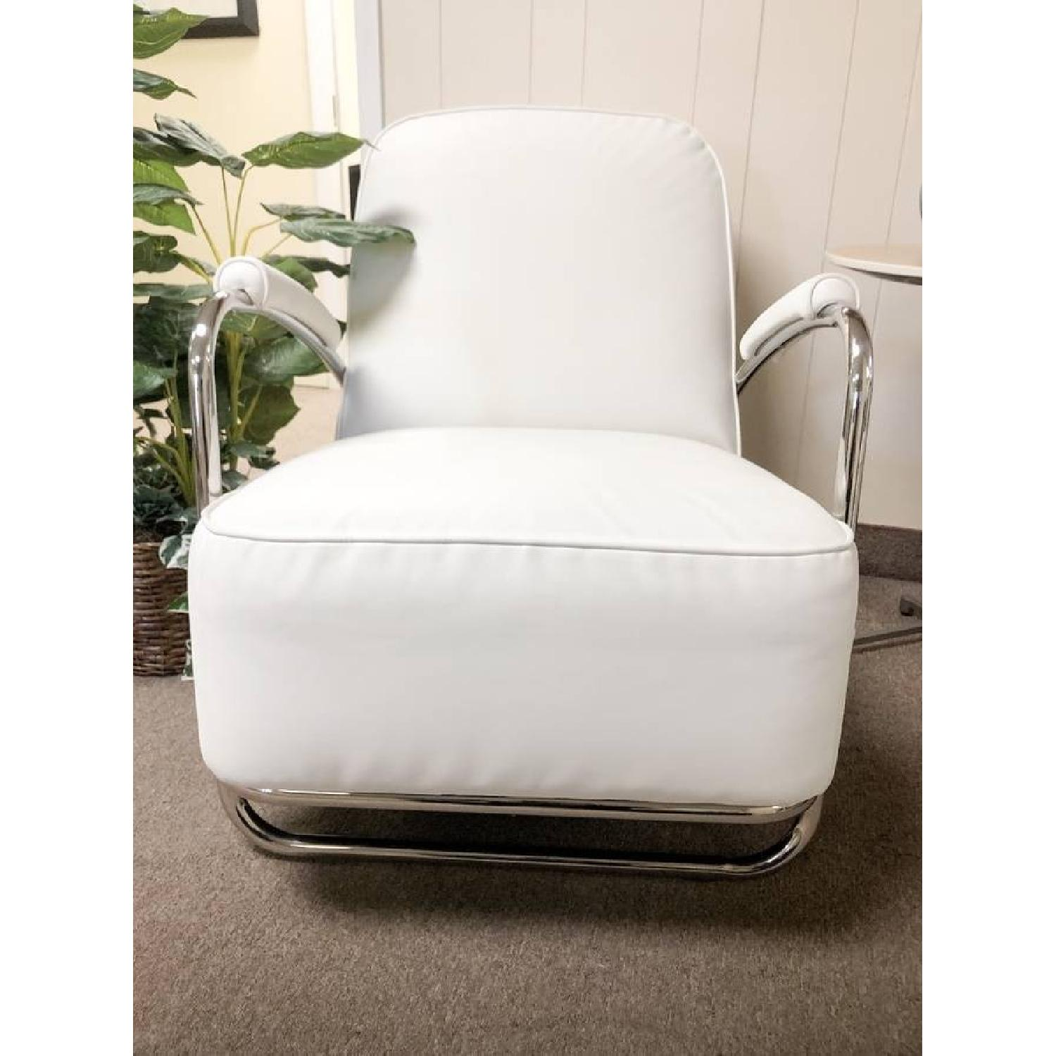 Mitchell Gold Art Deco Style Dean II Leather Armchair