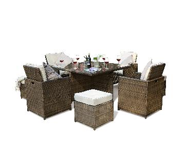 Lynette Outdoor 9-Piece Dining Set