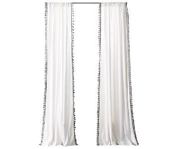 Restoration Hardware Tassel Trimmed White Curtains