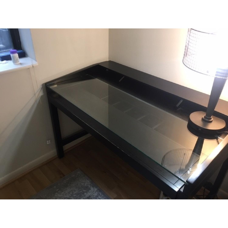 Crate & Barrel Black Wood Desk-2