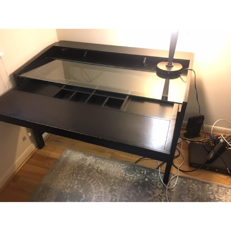 Crate & Barrel Black Wood Desk-3