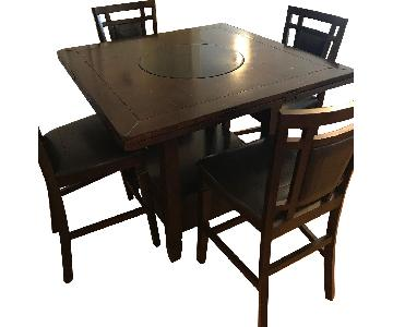 Raymour & Flanigan Dining Table w/ Lazy Susan & 4 Stools