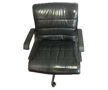 Black Leather Rolling Office Task Chair w/ Arms