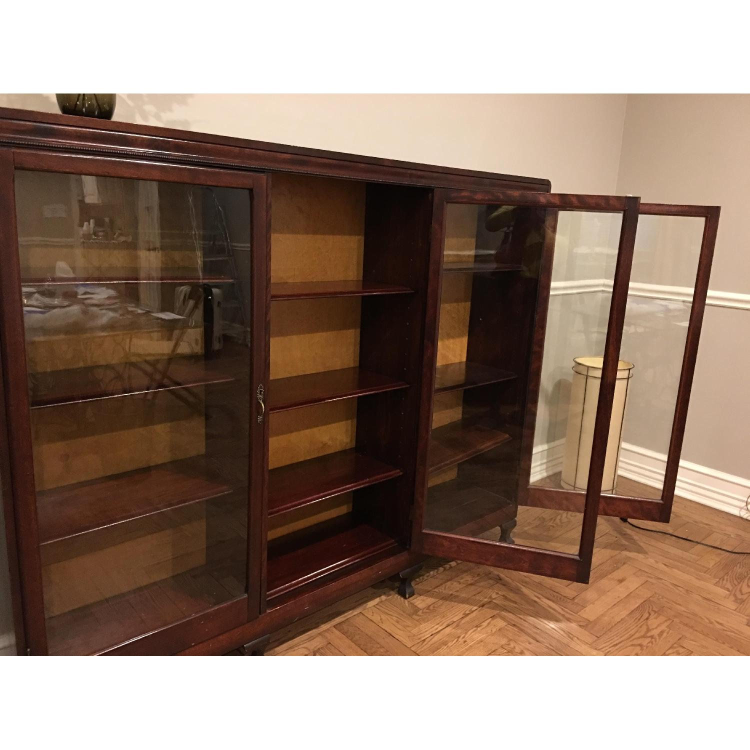 Antique Mahogany Glass-Front Bookcase/Cabinet-0