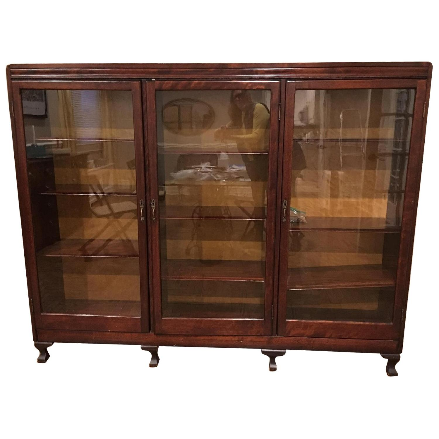 Antique Mahogany Glass-Front Bookcase/Cabinet
