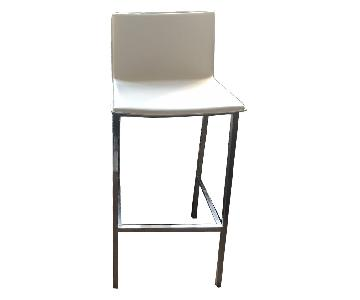 Modern White Leather Bar Stools w/ Metal Frame