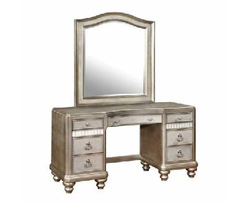 Vanity Mirror w/ Stool - crystal and mirror details!