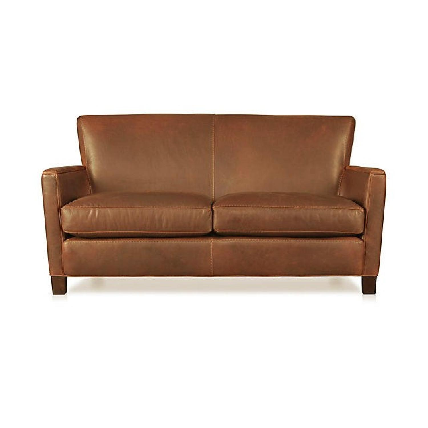 Crate & Barrel Briarwood Leather Loveseat