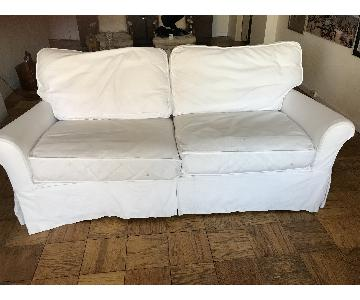 Crate & Barrel Slipcovered Queen Sleeper Sofa
