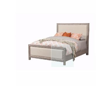 Lark Manor Burgundy Upholstered Bed Frame w/ Headboard