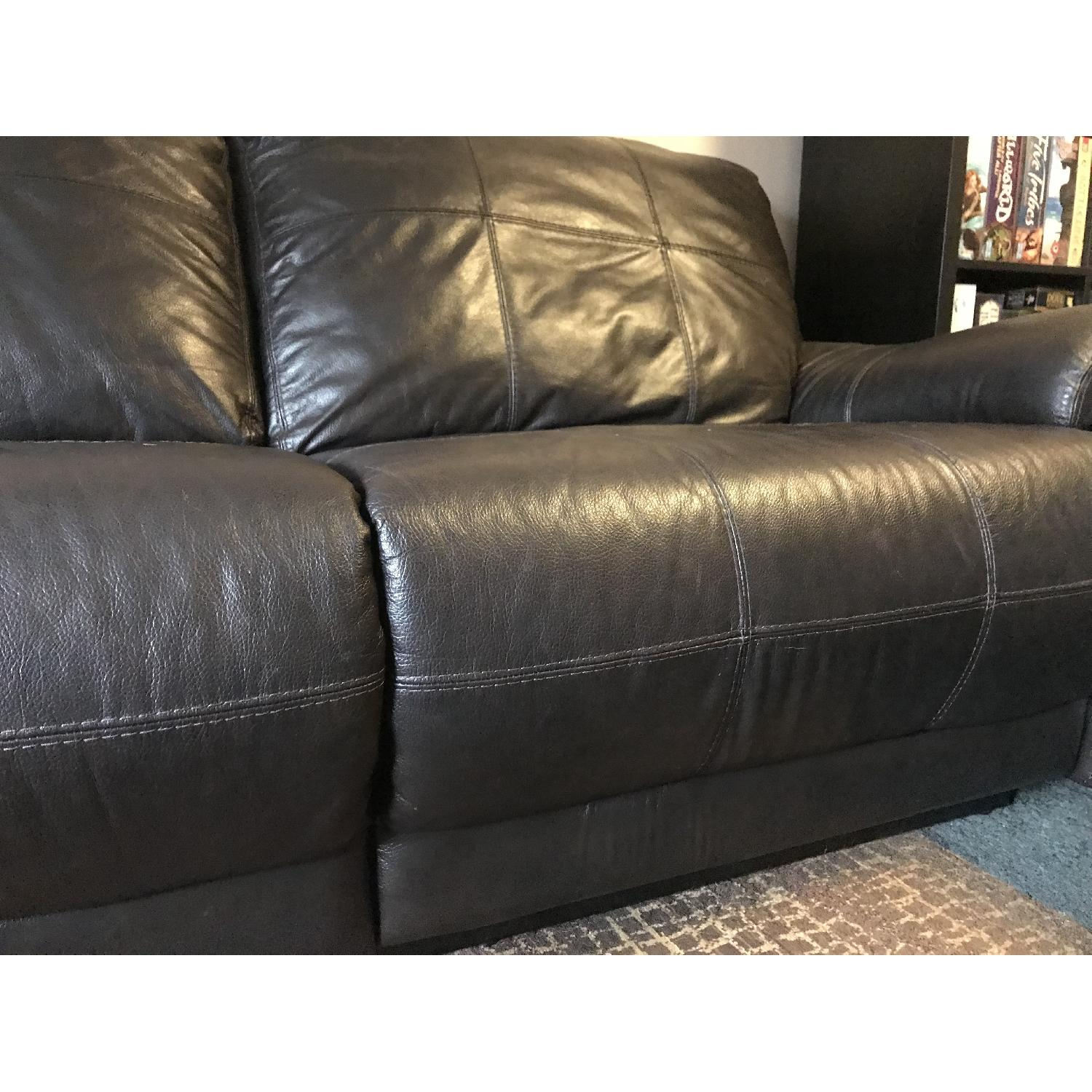 Raymour & Flanigan Power Leather Reclining Sofa - image-4