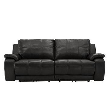 Raymour & Flanigan Power Leather Reclining Sofa