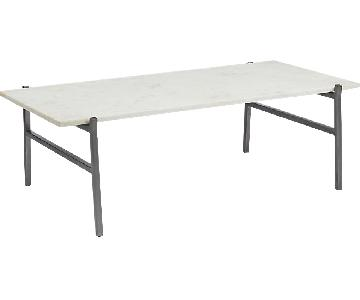 CB2 Slab Small Marble Table w/ Antiqued Base