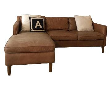 West Elm Paidge Reversible Sectional Sofa in Caramel Leather